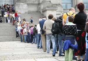 tourist waiting in line